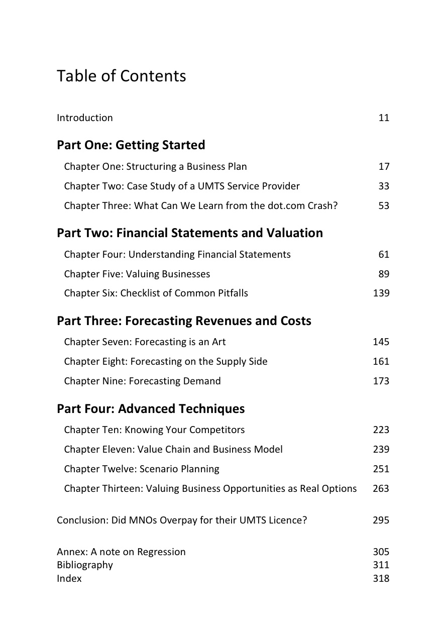 Table of contents the art of business planning for Table of contents