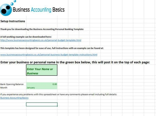 Business and Personal budget template instructions