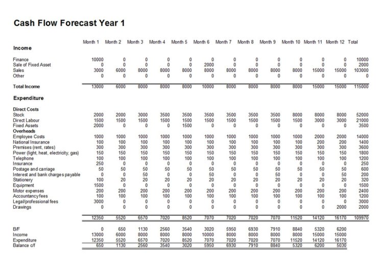 cash flow forecast - Template for Cash Flow Forecasts