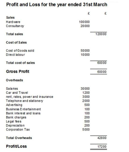 Profit and Loss Statement - PL Example and Template