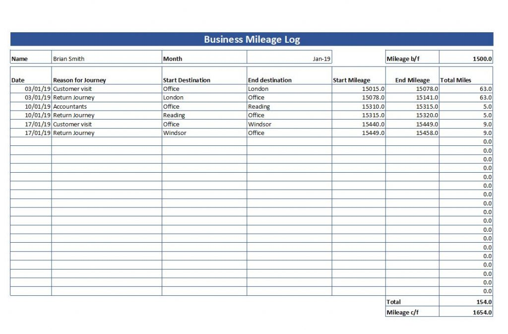 Simple Mileage Log - Free Mileage Log Template Download