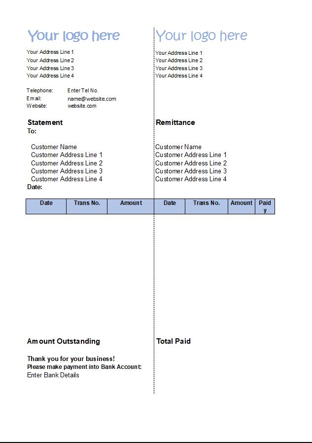 Statement of Account Template - Customer Statement Excel Download