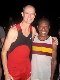 Regular winner of POMRR events Swans Pinampio with Australian distance legend Steve Monaghetti after an event in 2012.