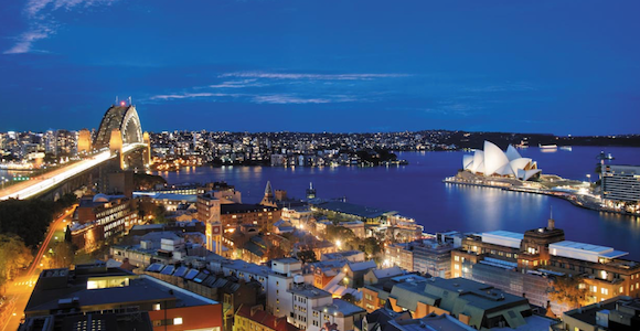 The view from the Shangri-La Hotel, Sydney