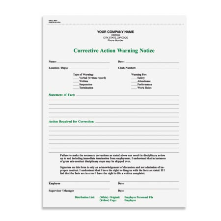 HRCC-365 Corrective Action Warning Notice