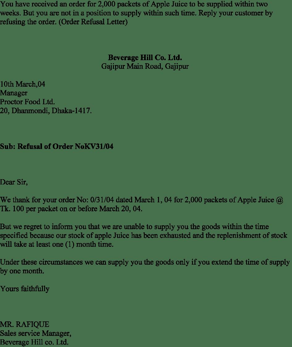 Order Refusal Letter Sample
