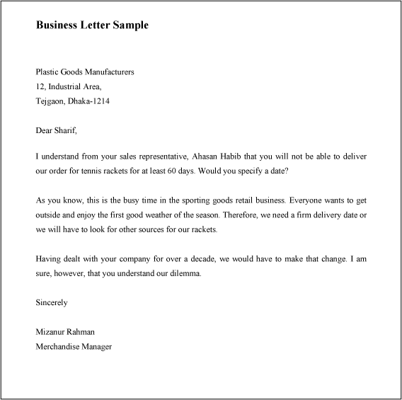 Write Source Business Letter Format Sample Formal Business Letter – Inter Office Letter