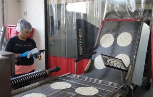 The new equipment, used to make the tortillas in handheld street tacos, will replace a smaller line Raquelitas currently uses. (Amy DiPierro)