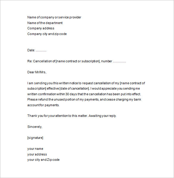 Notice Of Termination Letter business form letter template