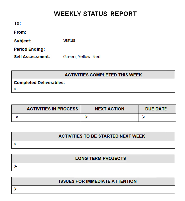 Weekly Status Report Template business form letter template