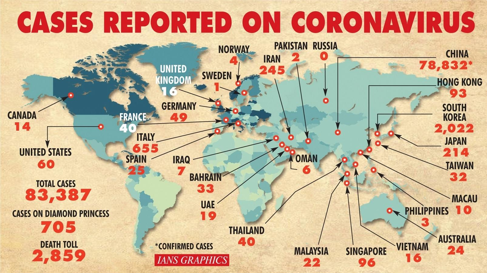 coronavirus outbreak update 52 countries affected by