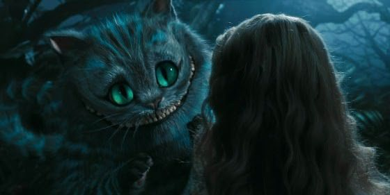 Cheshire cat talks to Alice