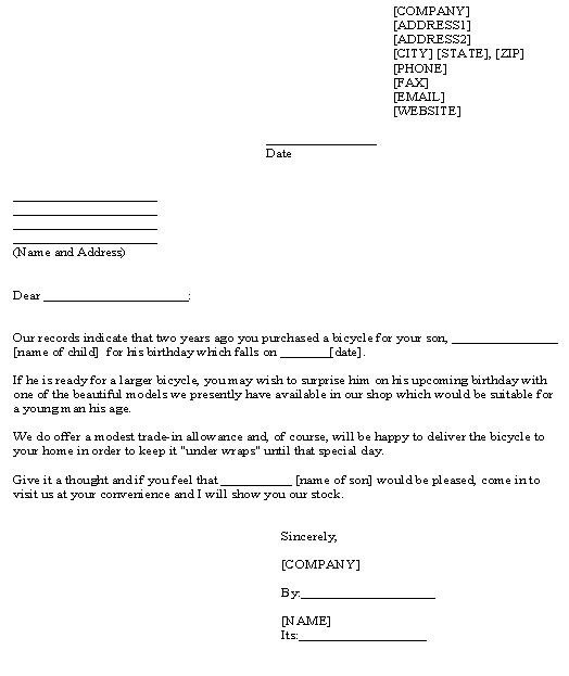 Ready to Use Sales Letter Template for Bicycle Shop