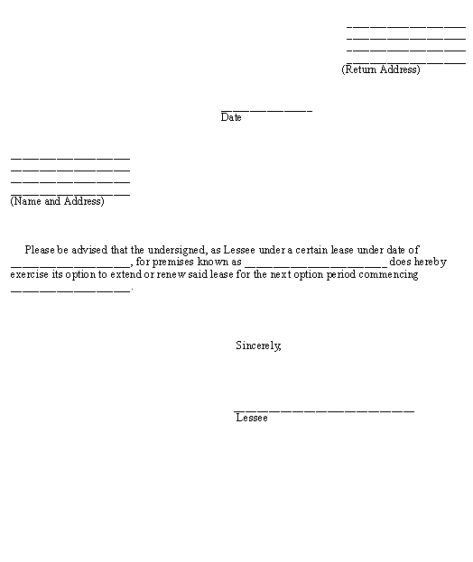 Notice to Exercise Lease Option template - Download from Business