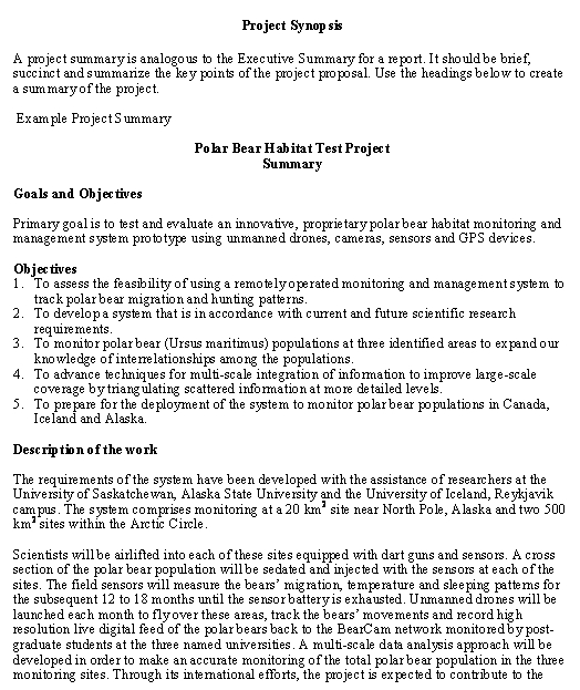 Project Synopsis template - Download from Business Operations-Reports - business synopsis template
