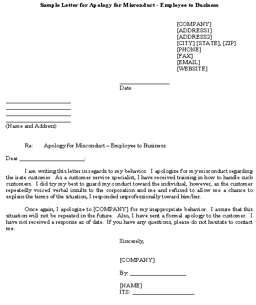 Sample Letter for Apology for Misconduct - Employee to Business Template - letter of apology sample