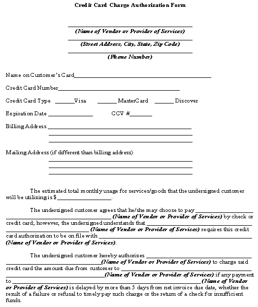 Credit Card Authorization Form Template \u2013 Download From Accounting