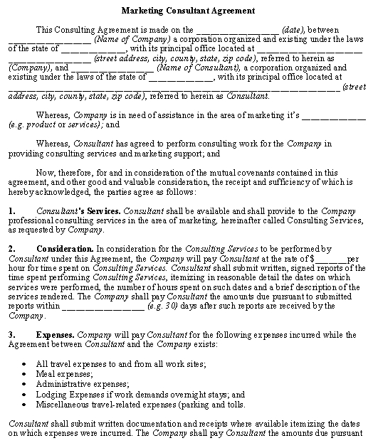 Self Employment Contract Sample Template- Marketing Consultant Agreement