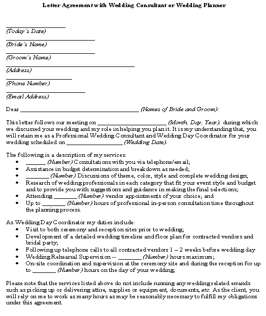 Letter Agreement with Wedding Consultant or Wedding Planner template