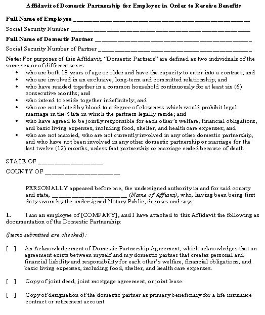 Affidavit of Domestic Partnership for Employer in Order to Receive - domestic partnership agreement