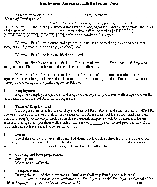 Employment Agreement with Restaurant Cook template - Download from - dentist employment agreement