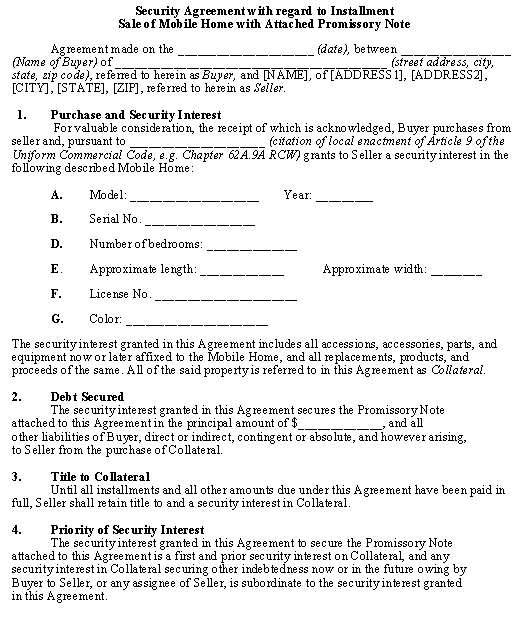 Sample Installment Sale of Mobile Home \u2013 Security Agreement