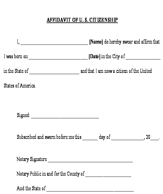 Affidavit of US Citizenship Form Template\u2013Download Free Sample