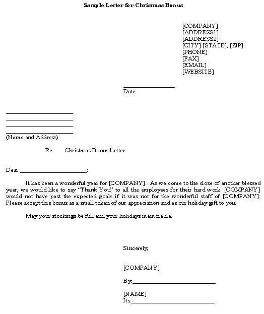 bonus letter template - bonus letter template