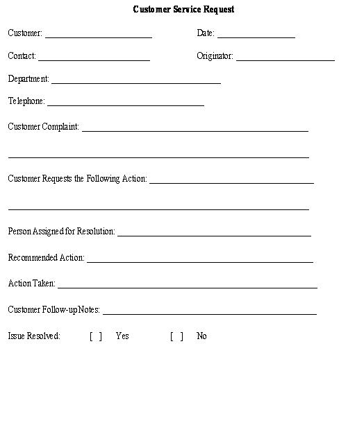 service request form template - service request form