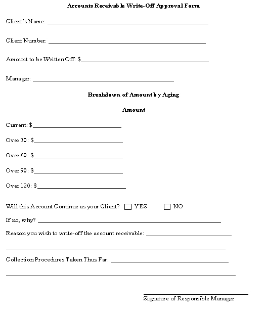 Accounts Receivable Write-Off Approval Form template - Download from - account form template
