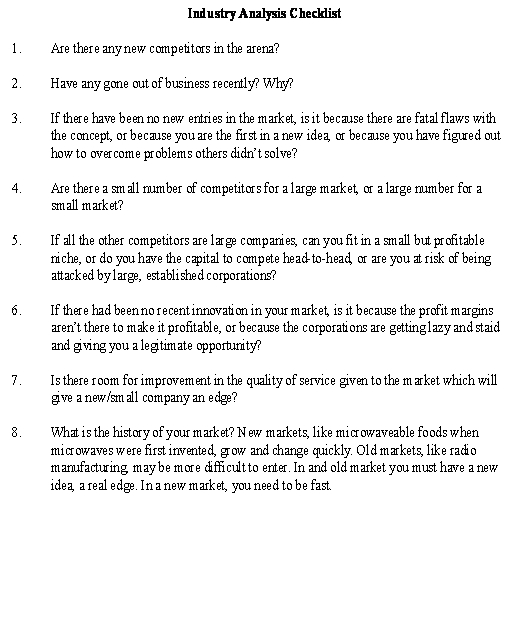 Industry Analysis Checklist Sample Template\u2013Get Forms  Documents