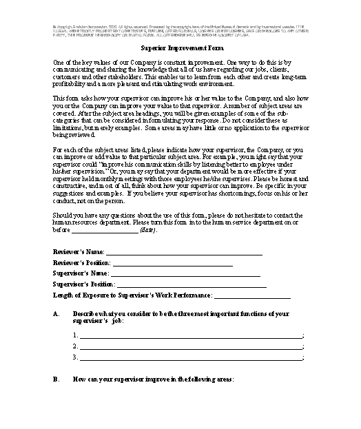Superior Improvement Form template - Download from Human Resources - superior service application form