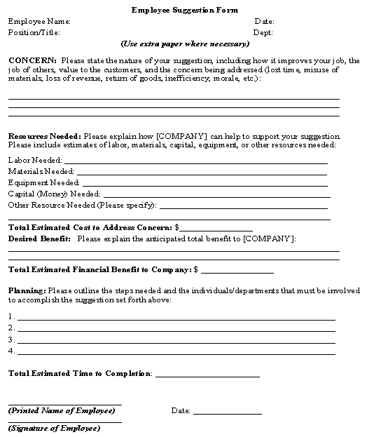 Employee Suggestion Form template - Download from Human Resources