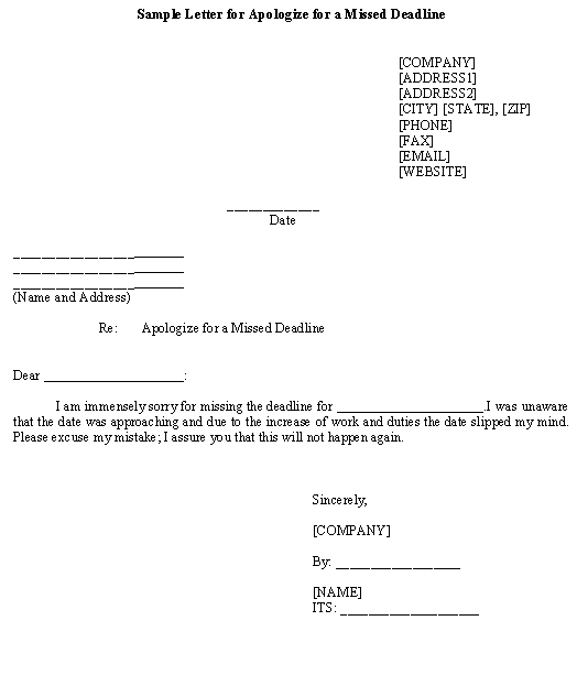Sample Letter for Apologize for a Missed Deadline\u2013Download Template