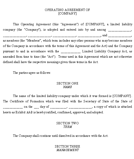 LLC Operating Agreement Template \u2013 Download From Business Types and