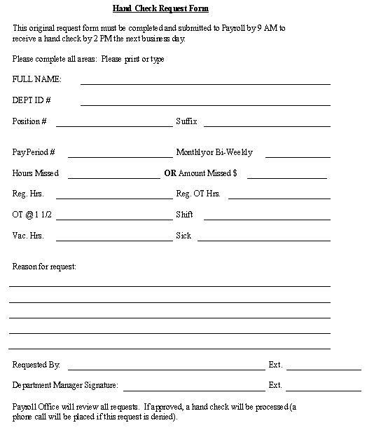 Hand Check Request Form template - Download from Human Resources