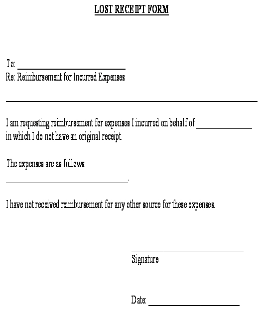 Lost Receipt Form template - Download from Accounting and Finance