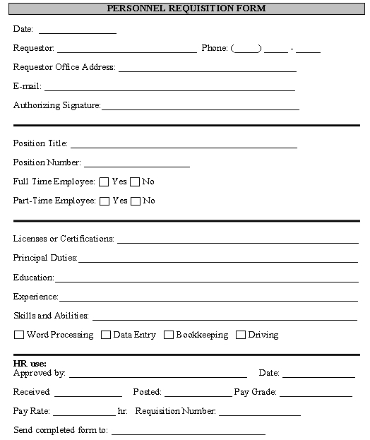 Personnel Requisition Form template - Download from Human Resources