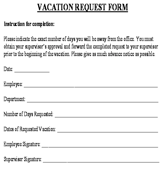 Vacation Request Form template - Download from Human Resources