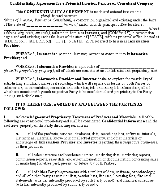Confidentiality Agreement Template \u2013 Download From Accounting And