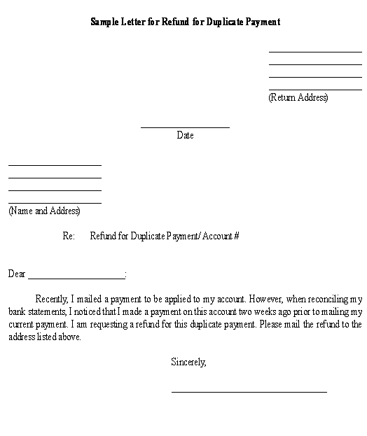 Sample Letter for Refund for Duplicate Payment \u2013Download Template