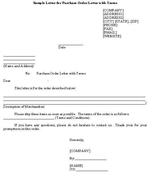 Sample Letter for Purchase Order Letter with Terms template