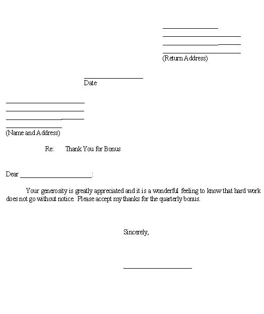 Sample Letter for Thank You for Bonus template - Download from - bonus letter template