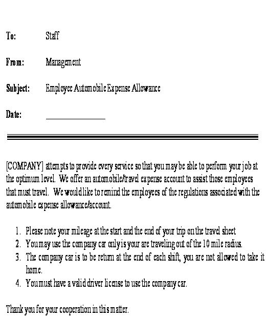 Sample Letter for Employee Automobile Expense Allowance Template