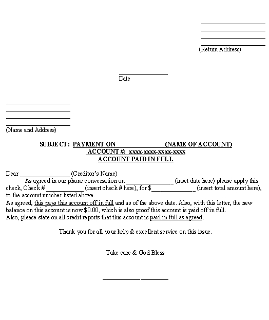 Letter for Account Paid in Full template - Download from Accounting