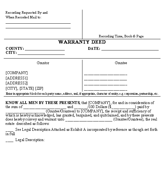 Special Warranty Deed Example \u2013 Download Sample Template at 60 OFF