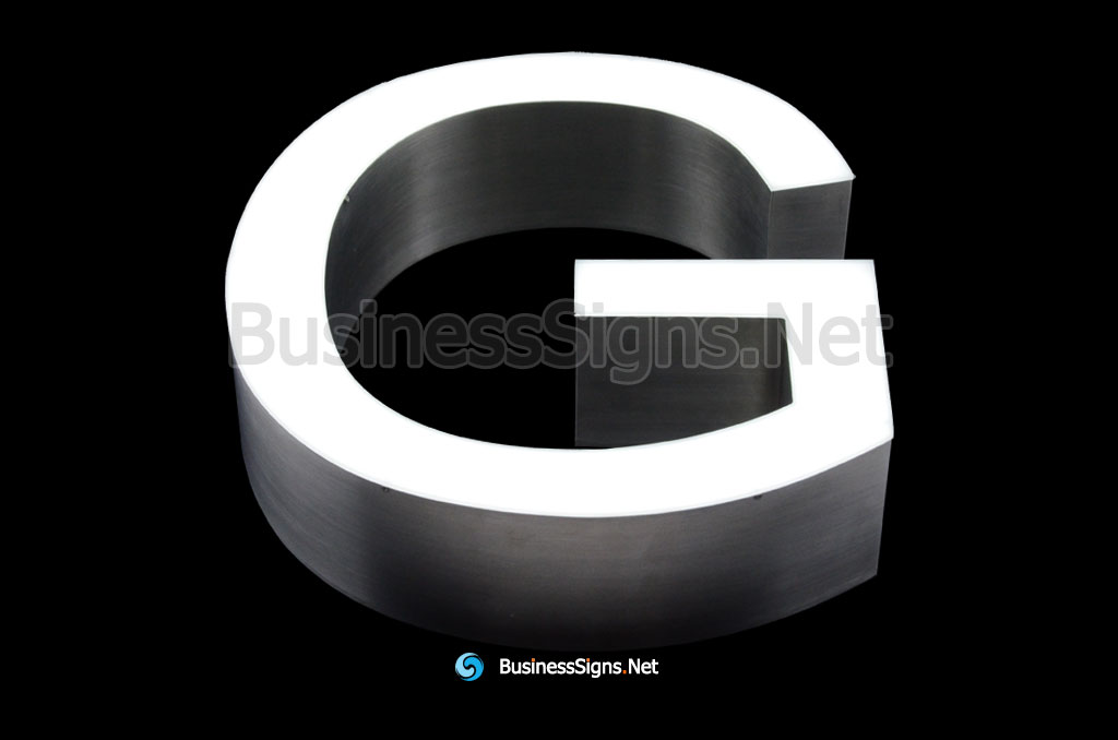 3D LED Front-lit Business Signs With Brushed Stainless Steel Letter