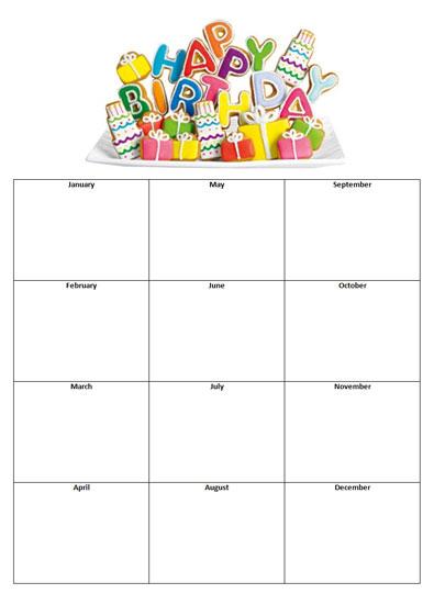 Free Sample Birthday List Template