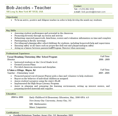Free Sample Elementary Teacher Resume Template - teacher resume templates free