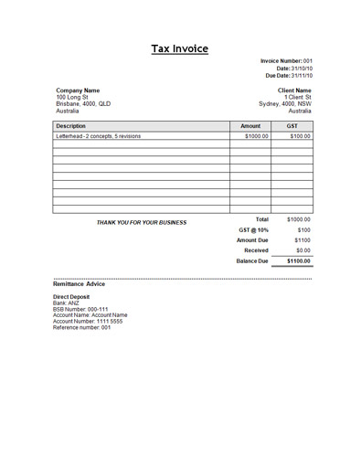 Free Sample Tax Invoice Template Template
